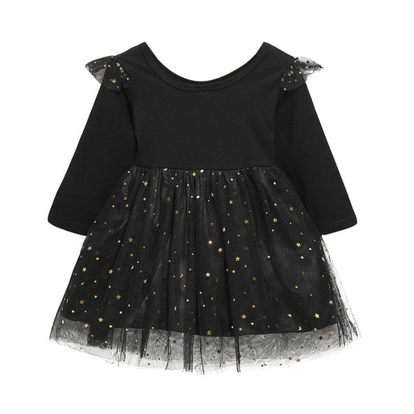 mesh Lovely Knee-length Printing Spring Autumn Casual 2019 Fashion Baby Girl Printing Black Long Sleeve Princess Dress