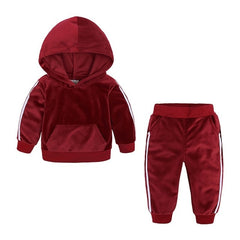 """2 Stripe"" Velour Hooded Sweat-Set"