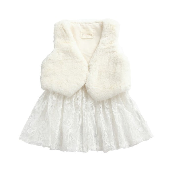 """Fur and Lace"" Girls Winter Dress"