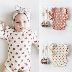 "Baby Model Lake in the ""Hearts and Ruffles"" Ribbed Bodysuit"