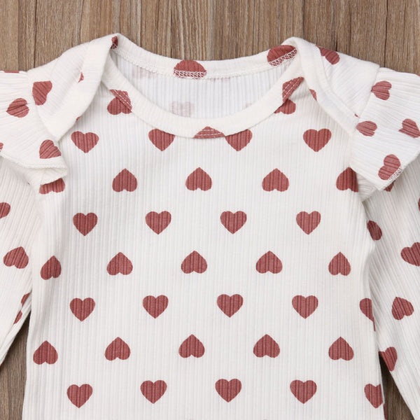 """Hearts and Ruffles"" Ribbed Bodysuit"