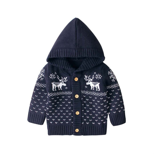 """Baby Deer"" Hooded Knit Sweater"