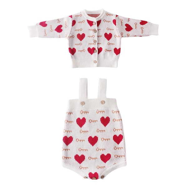 """Hearts"" Knitted Cardigan Bodysuit Set"