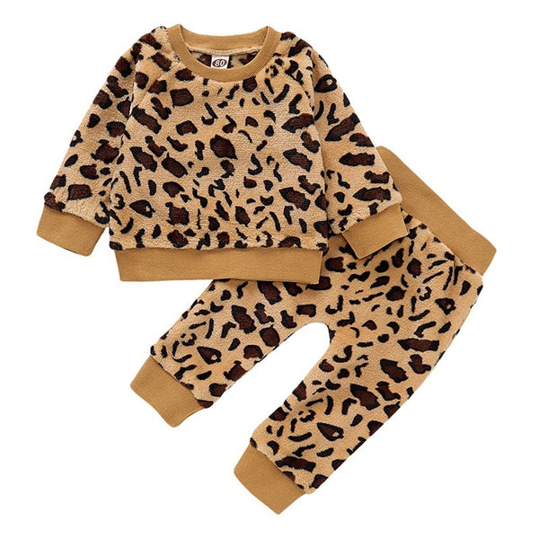 """Lil Leopard"" Fleece Sweat Set"