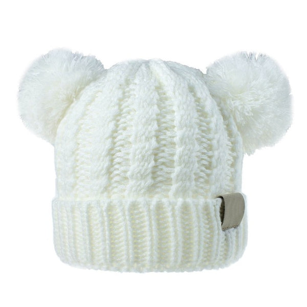 """Bear"" Pom Pom Knit Hat"