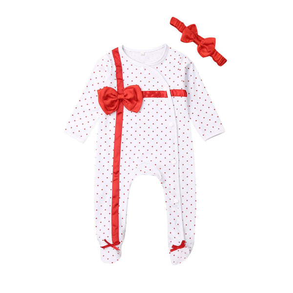 BabyBow Present Footed Romper
