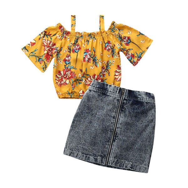 """Miss Hawaii"" Off-Shoulder Denim Set"