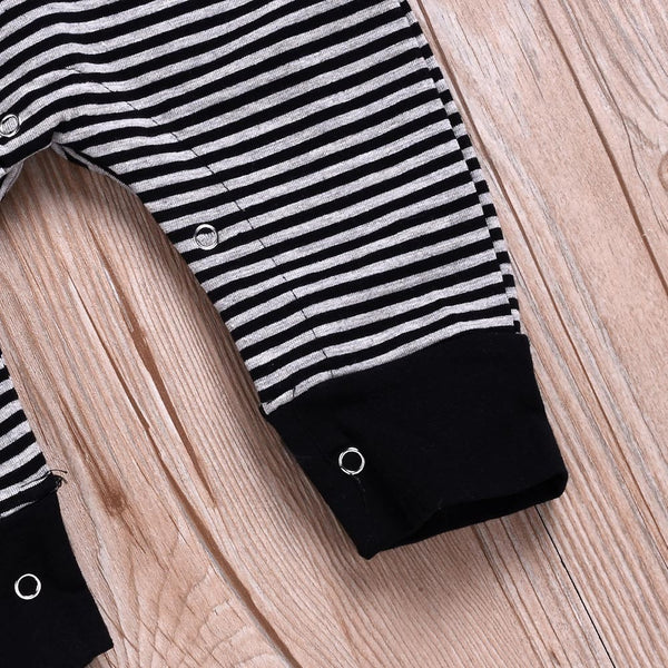 """Stripes"" Black Shoulder Romper"