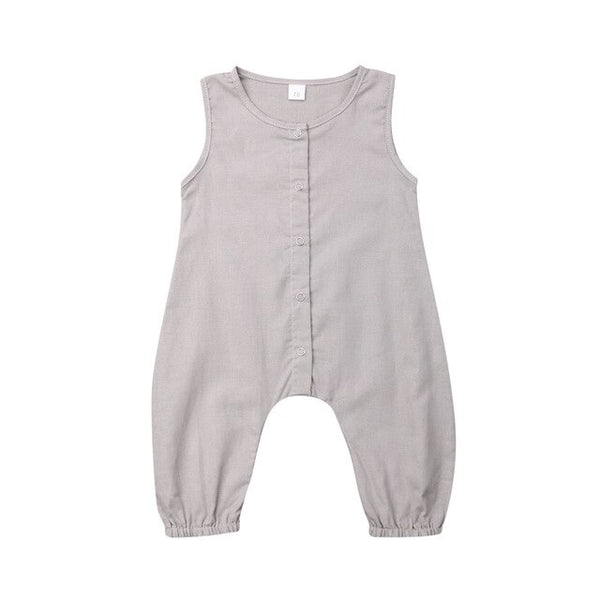 """Solids"" Button Down Linen Romper"