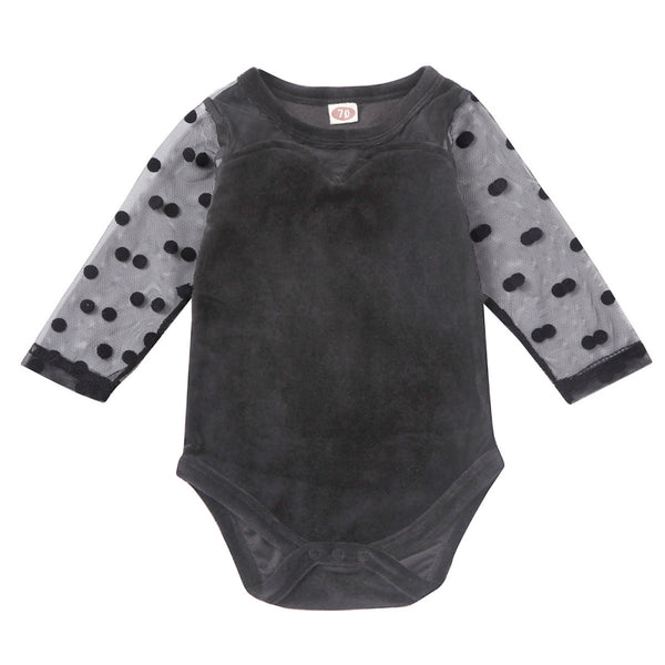 """Polka Dot and Lace"" Baby Black Bodysuit"
