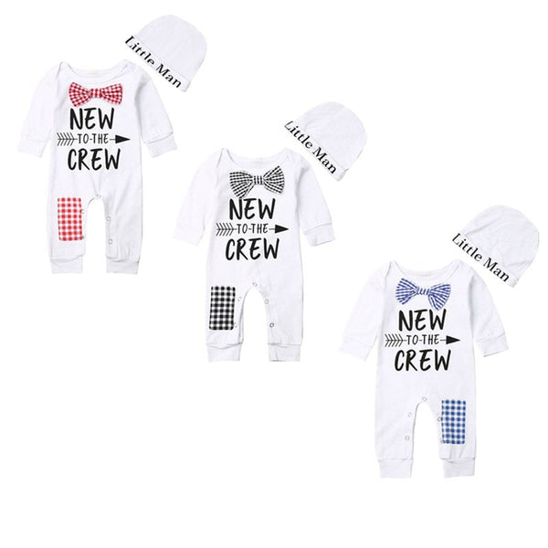 """New to the Crew"" Patchwork Onesie Set"
