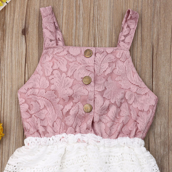 """Lace"" Sleeveless Tassel Romper"