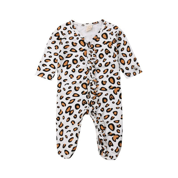"""Leopard and Ruffles"" Footed Romper"