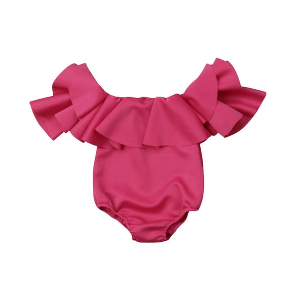 """Ruffles Everywhere"" Off-Shoulder Baby Bodysiut"