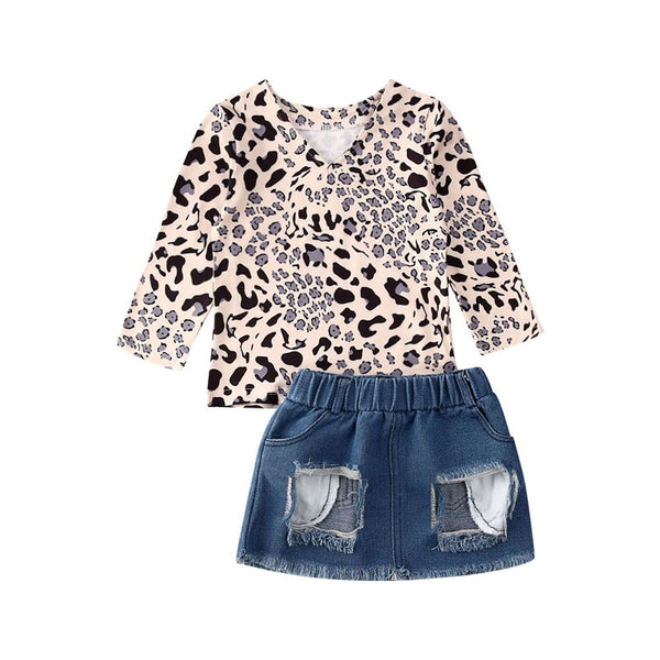 """Distressed Leopard"" Skirt Set"