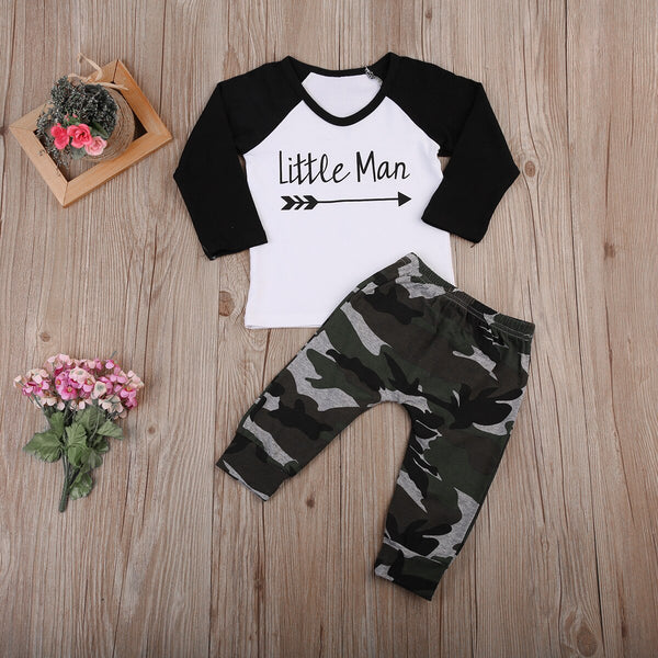 """Little Man"" Raglan and Camo Set"