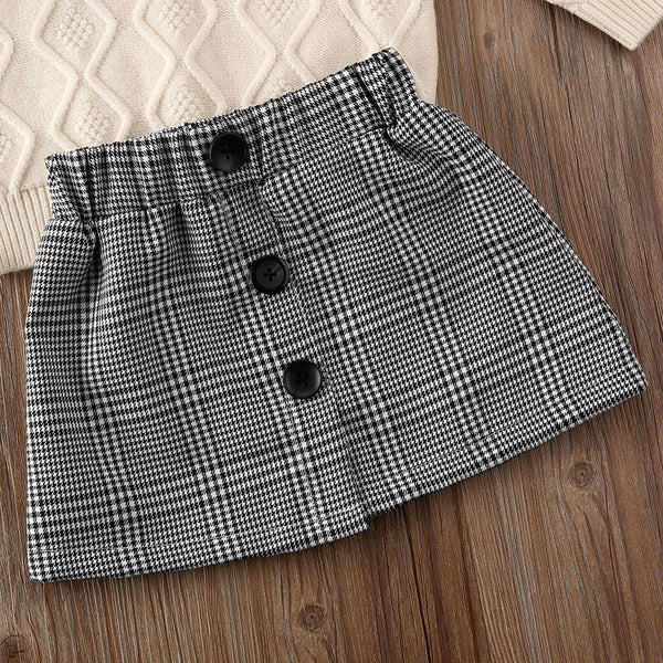 Plaid and Love Turtleneck Skirt Set