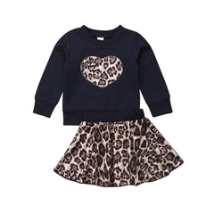 """Leopard and Hearts"" Skirt Set"