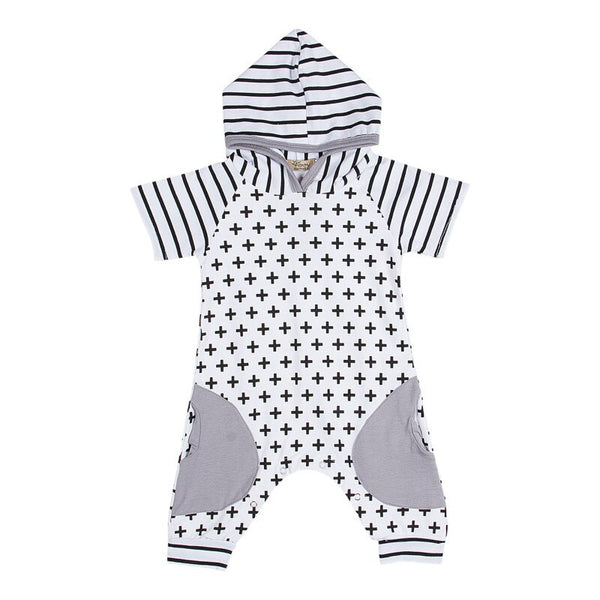 """Cross and Stripes"" Hooded Romper"