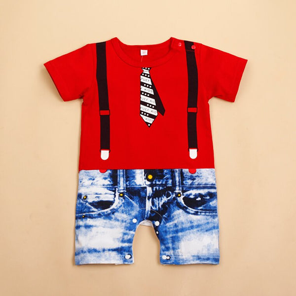 """Jeans and Tie"" Printed Baby Boy Romper"