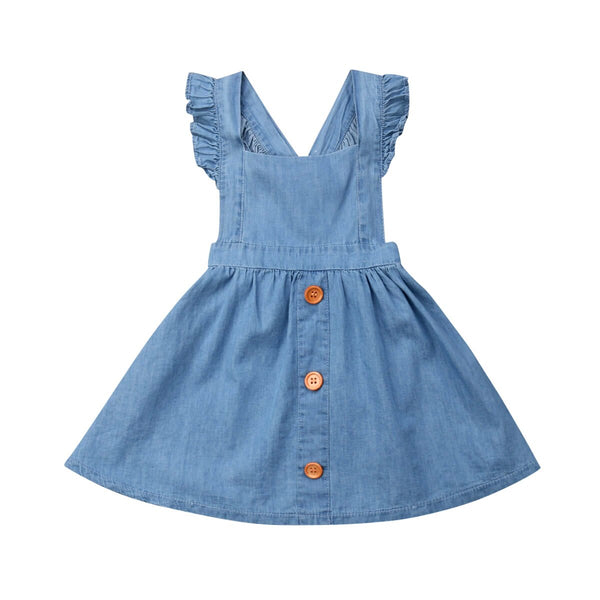 """Bailie"" Denim Suspender Dress"