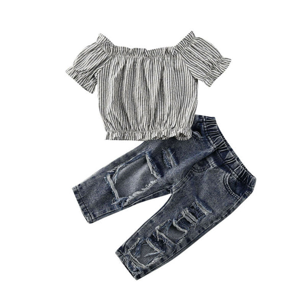 """Stripes"" Off Shoulder Grunge Set"