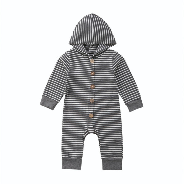 """Butons and Stripes""  Hooded Romper"