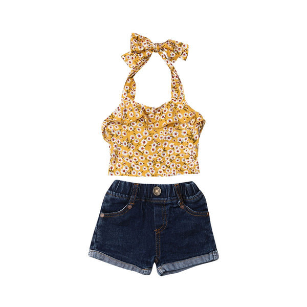 """Denim Flower"" Halter Set"