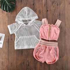 """Baby Mesh"" Hooded Track Shorts Set"