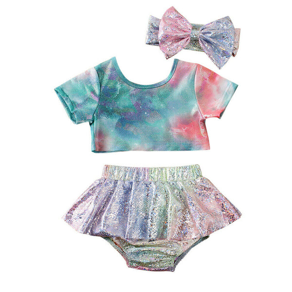 """Glitter and Tie Dye"" Summer Bathingsuit/Sunsuit"