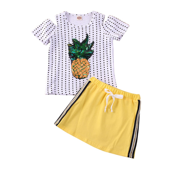"""Pretty In Pineapple"" Track Skirt Set"