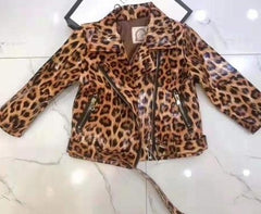 """Leopard"" Faux Leather KIDS Jacket"
