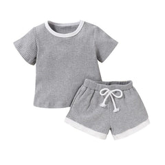 """The Ribbed Solid"" Shorts Set"