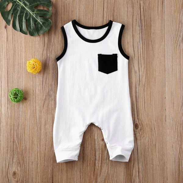 """Black and White"" Pocket Romper"