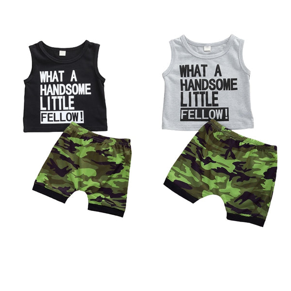"""Handsome Fella"" Camo Tank Set"