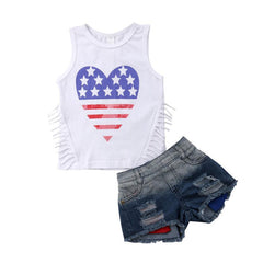 """I Heart"" Red, White and Blue Denim Set"
