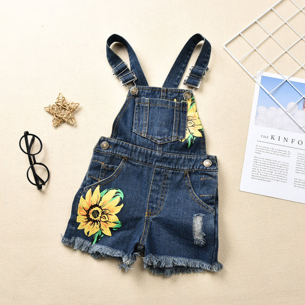 """Sunflowers"" Denim Overall Shorts"