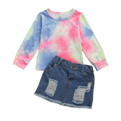 """Paloma Tie Dye"" Distressed Denim Skirt Set"
