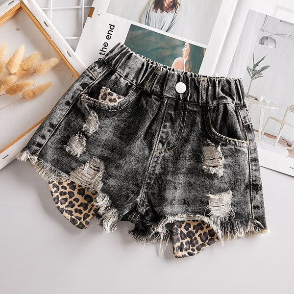 """Denim and Leopard"" KIDS Shorts"