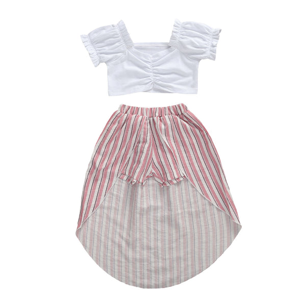 """Pink and Stripes"" Crop Skort Set"