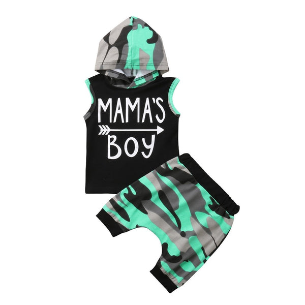 """Green and Grey"" Mama's Boy Hoodie Set"