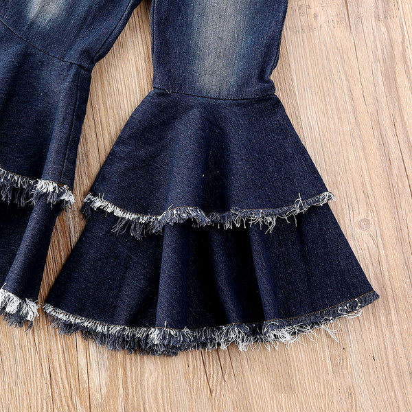 """Denim Flare"" Elastic Top Set"