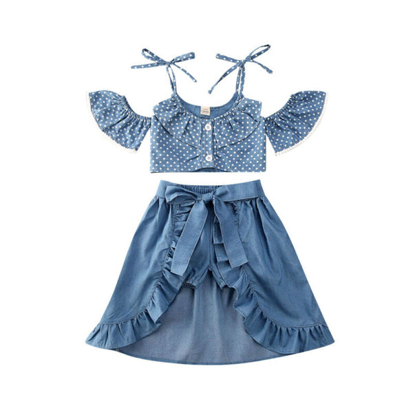 """Polka Denim"" Off-Shoulder Skort Set"