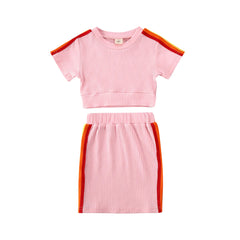 """Athletica"" Pink Track Skirt Set"