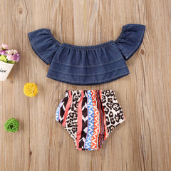 "'Boho and Denim"" Baby Bloomer Set"
