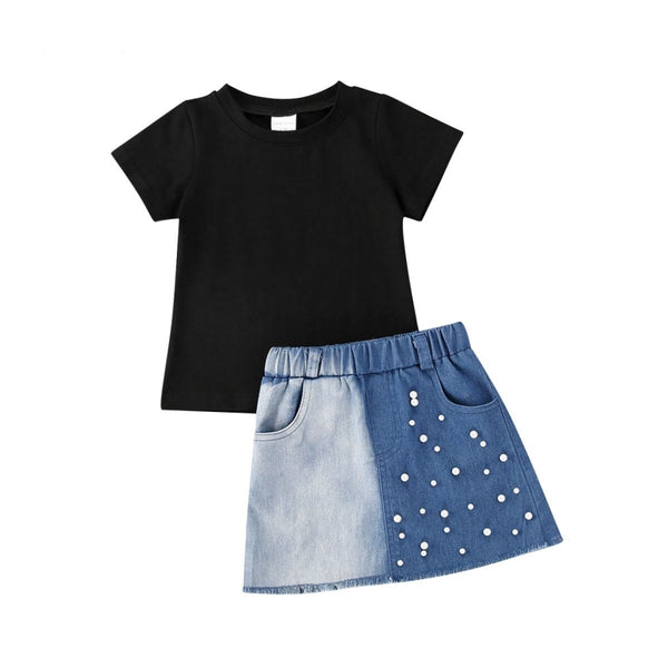 """Denim and Pearl"" Skirt Set"