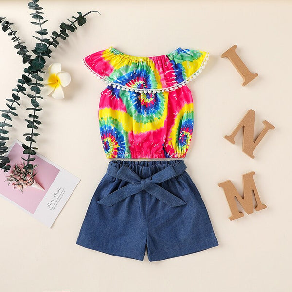 """Tassel and Tie Dye"" Off-Shoulder Denim Set"