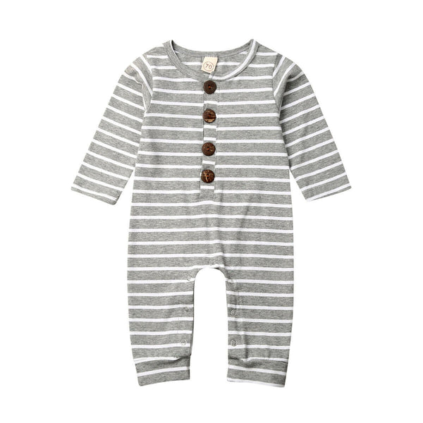 """Stripes"" Grey and White Button Romper"