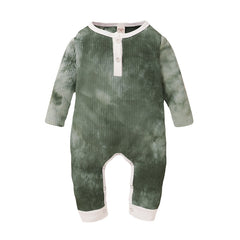 """Ribbed"" Button Tie-Dye Boys Romper"