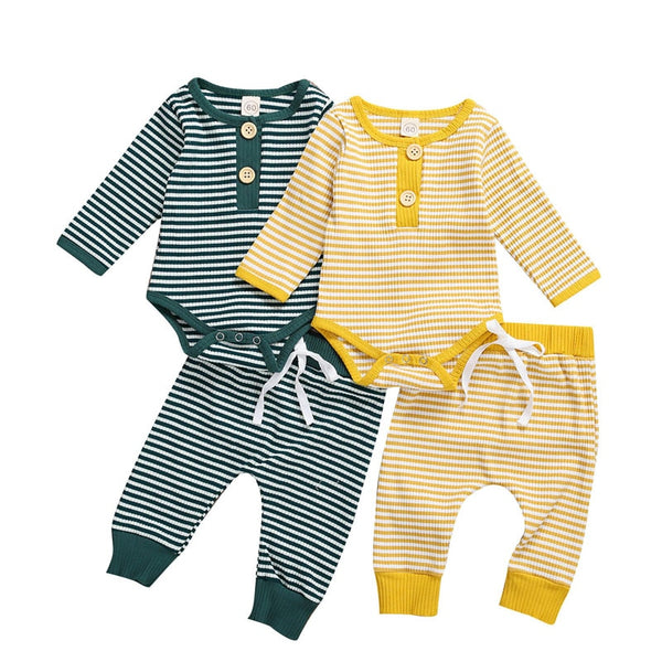 """Stripes"" Boys Button Autumn Sets"